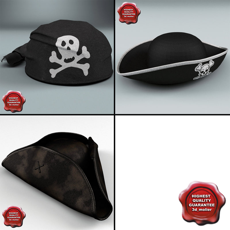 3d pirate hats model