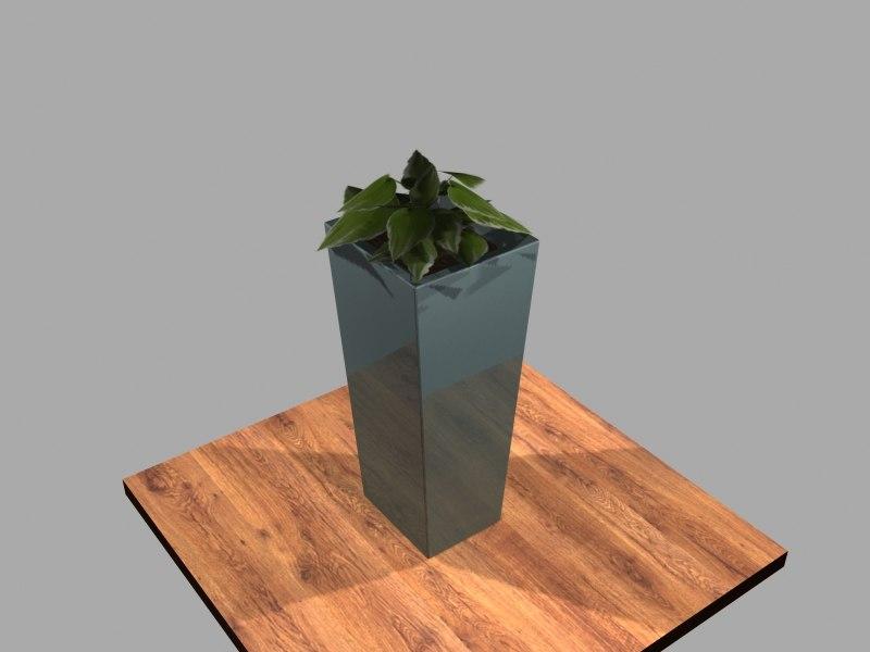 3d model of vase foliage leaf