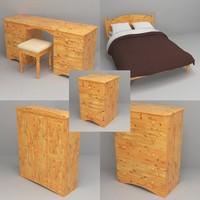 pine bedroom furniture bed 3d 3ds