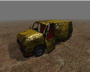 wrecked van 3d model