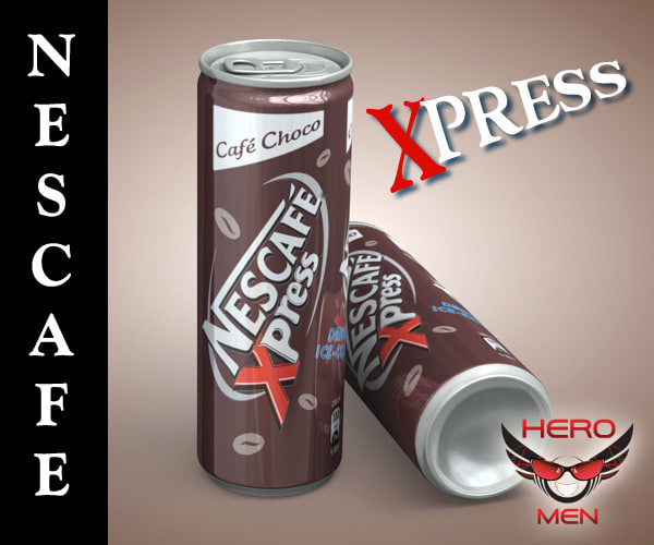 3d model realistic nescafe xpress drink cans