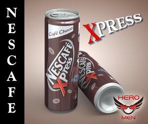 3d model realistic nescafe xpress drink cans