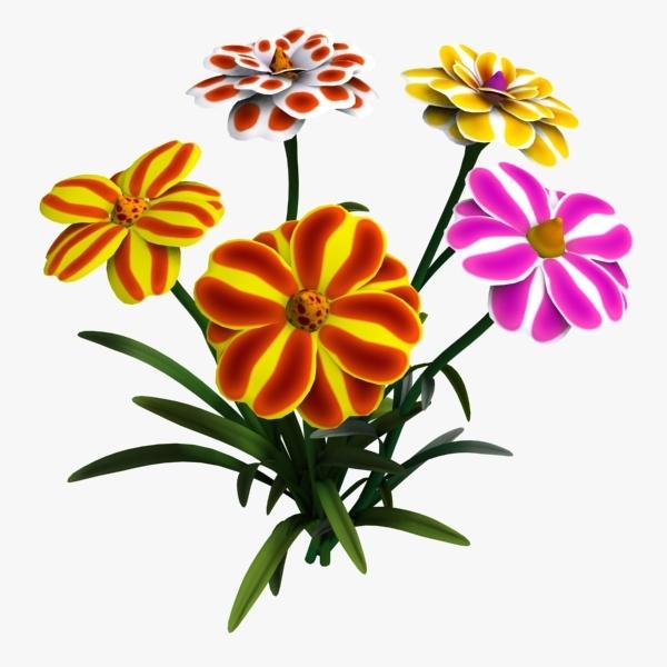 cartoon flowers 3d max