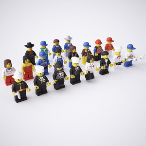 rigged 20 lego minifigures 3d x