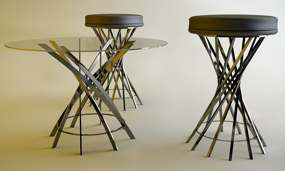 modern table chair 3ds free