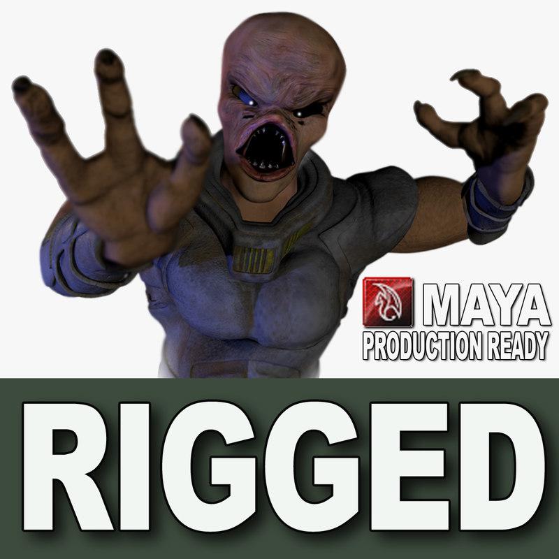3d rig alien creature model