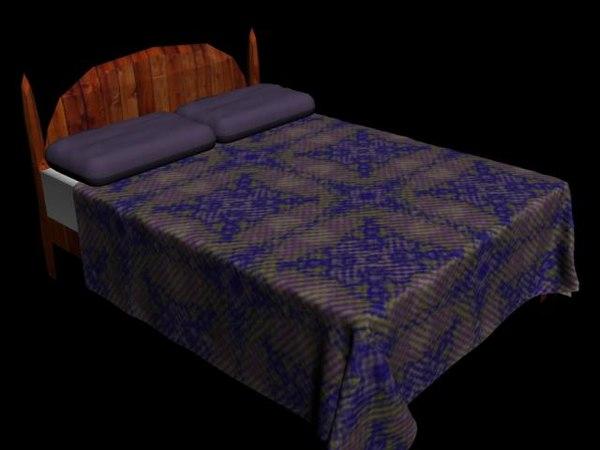 free queen bed 3d model