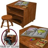 3d desk stool model