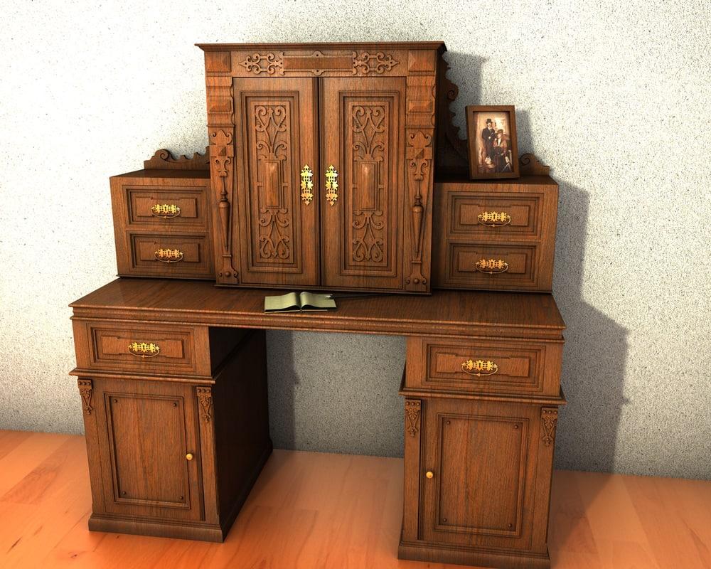 3d antique secretaire model