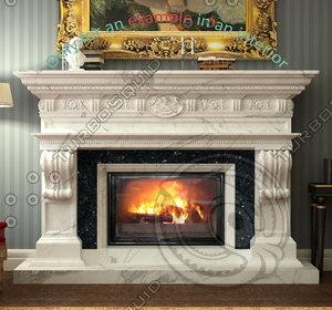fireplace 36 3d max