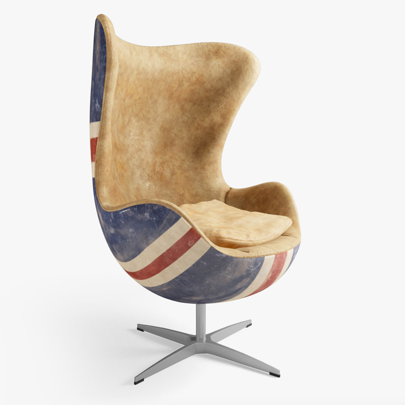 photoreal union jack chair seat 3d model