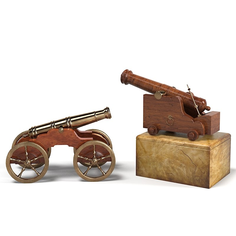 3d trafalgar cannon sculptural model