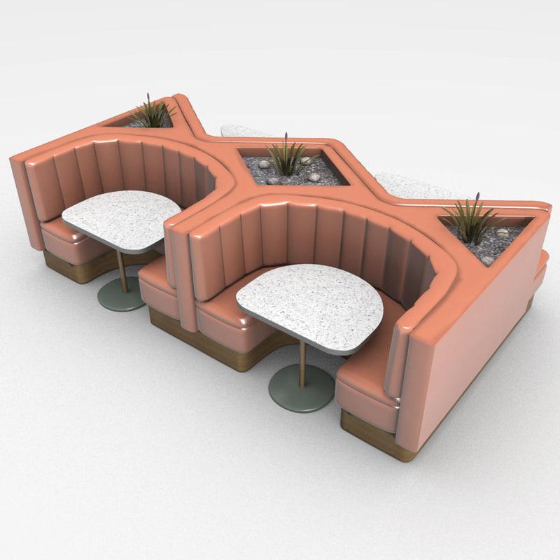 3d model booth restaurants