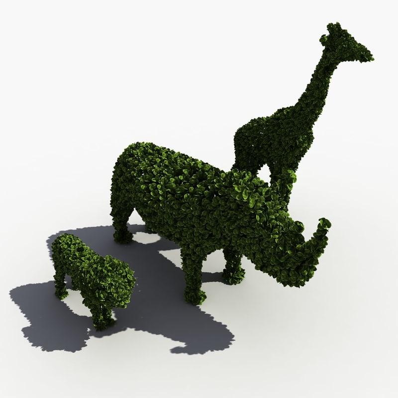 3d bushes animals model