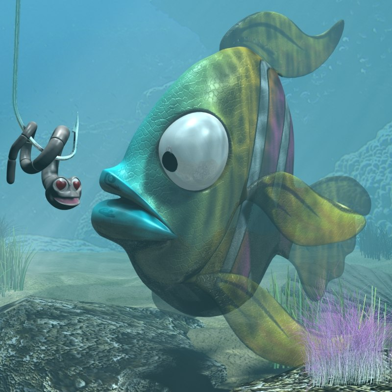 cartoon exotic fish rigged 3d 3ds