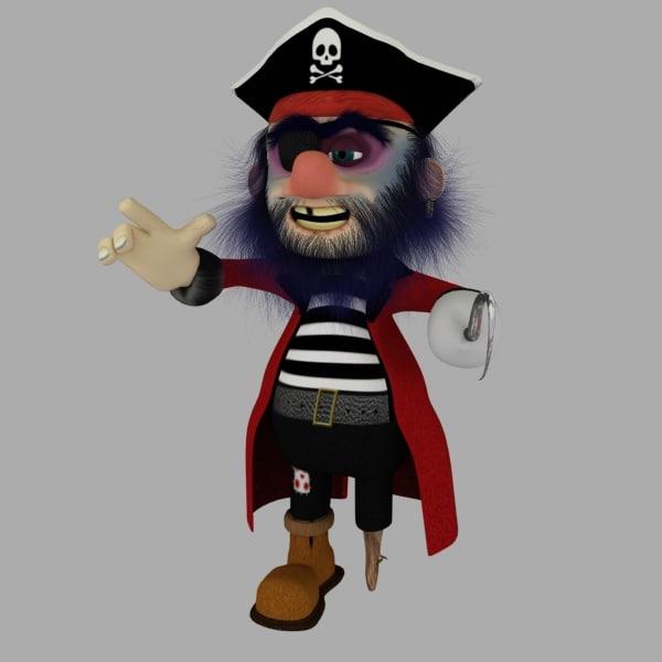 3d pirate cartoon rigged