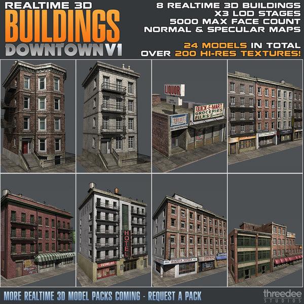 3d model building realtime - downtown