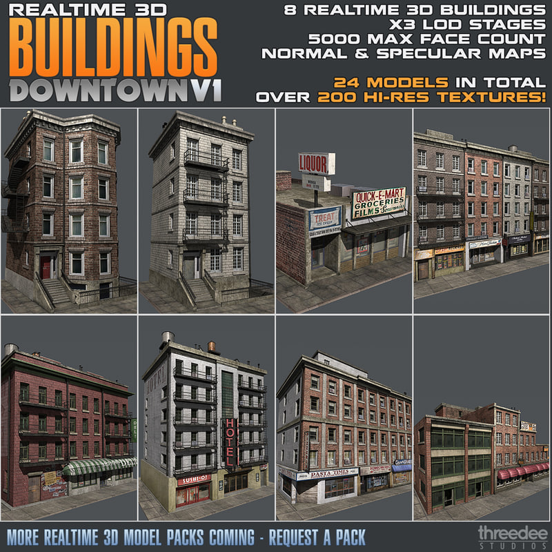 3d model building realtime downtown for Build house online 3d free