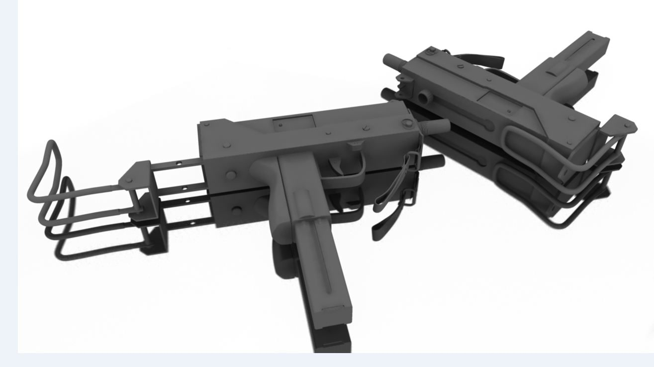 machine pistol 3d obj