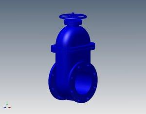 flat gate valve 3d ige