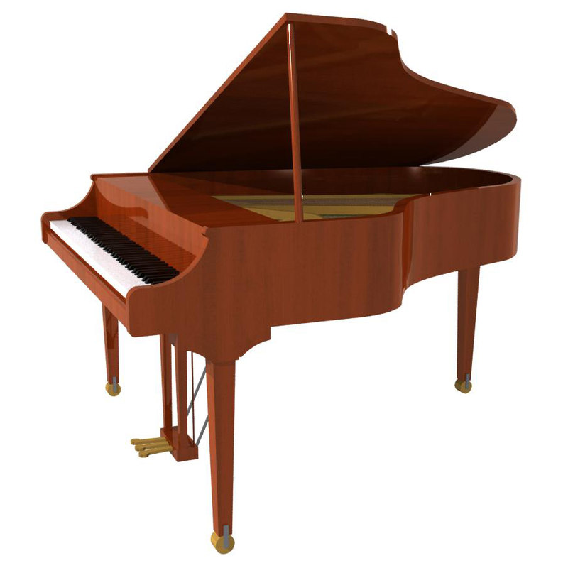 grand piano wood 3d model