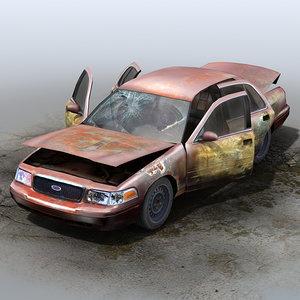 3d model derelict car wrecks