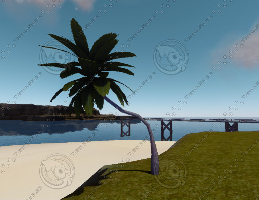 3d model curved palmtree