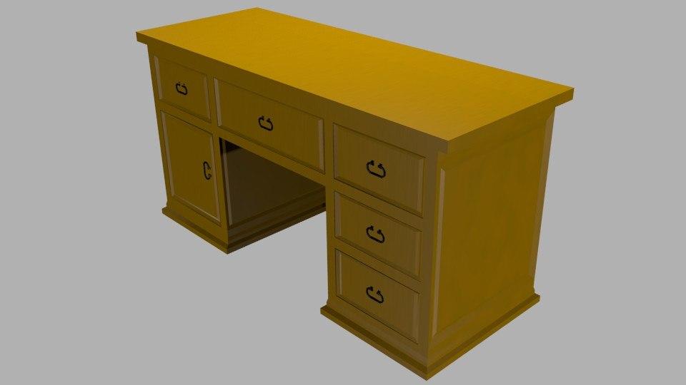 3ds max wooden desk