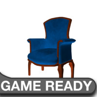 3d victorian chair blue model