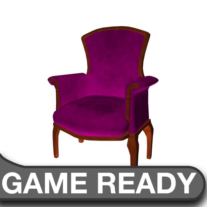 3d model victorian chair purple