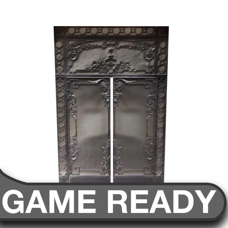 victorian glass metal door 3d model
