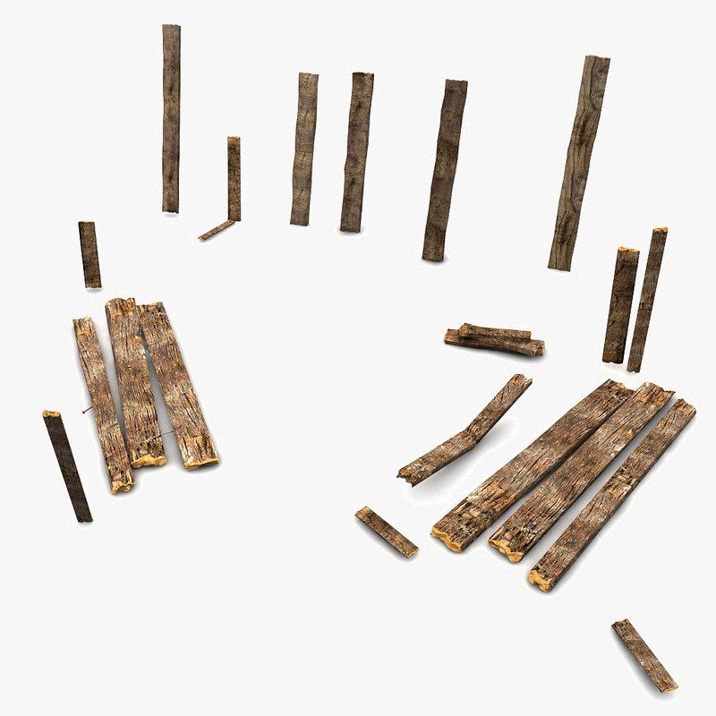 wooden wood plank 3d model