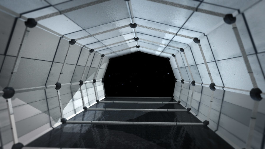 3d space station interior model