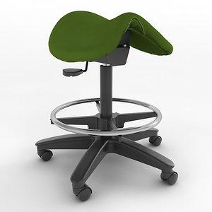 3d model ergonomic saddle stool height