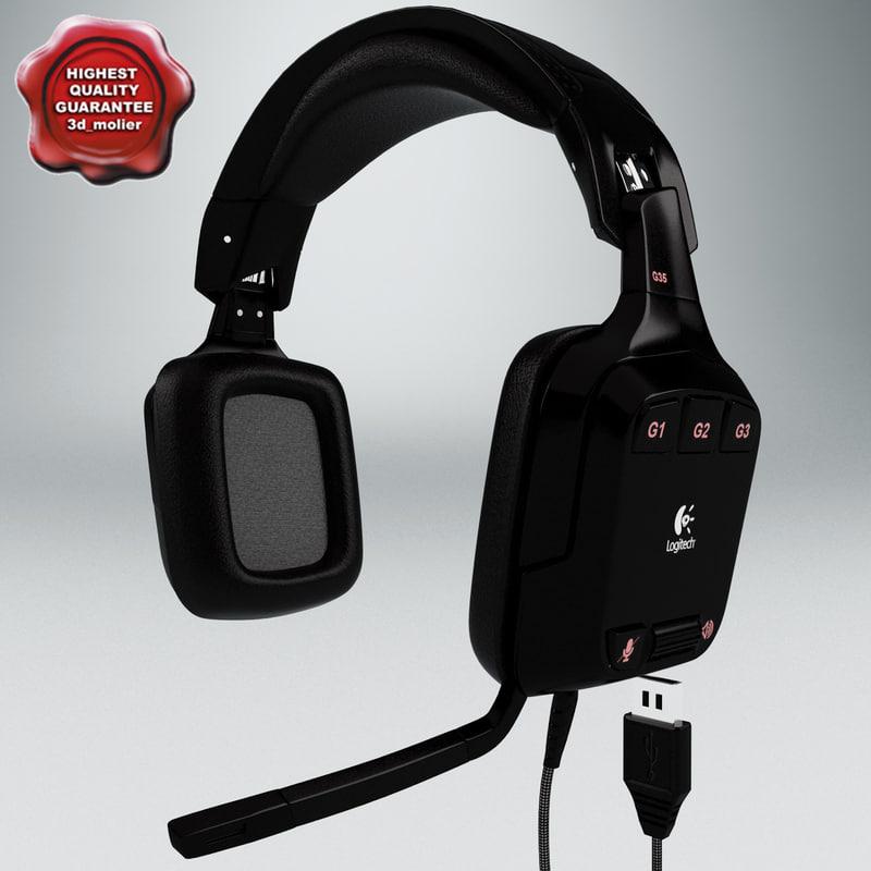 headphones logitech g35 3d model