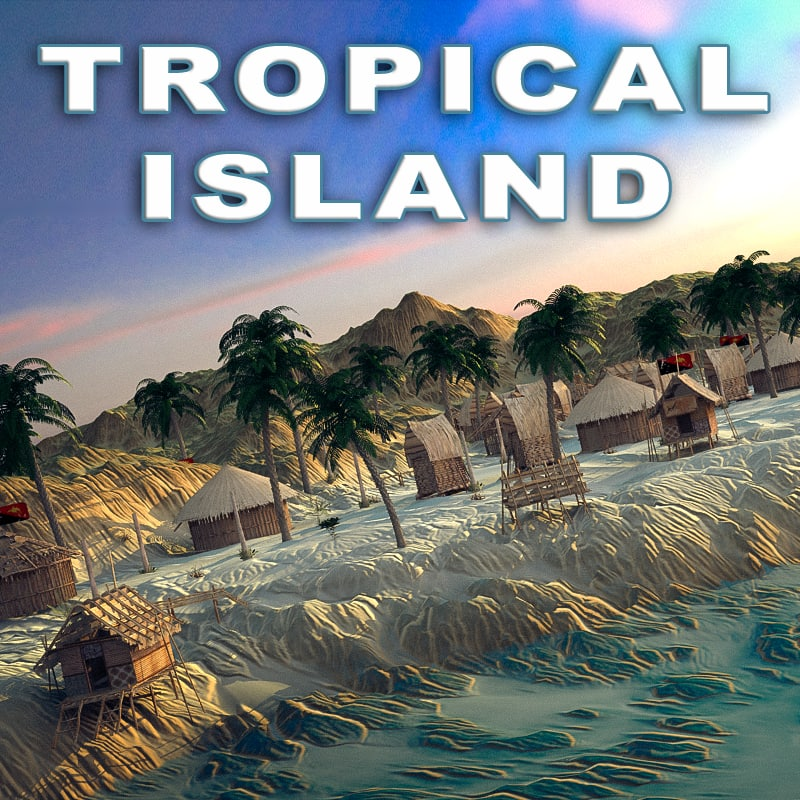 3d terrain island tropical model