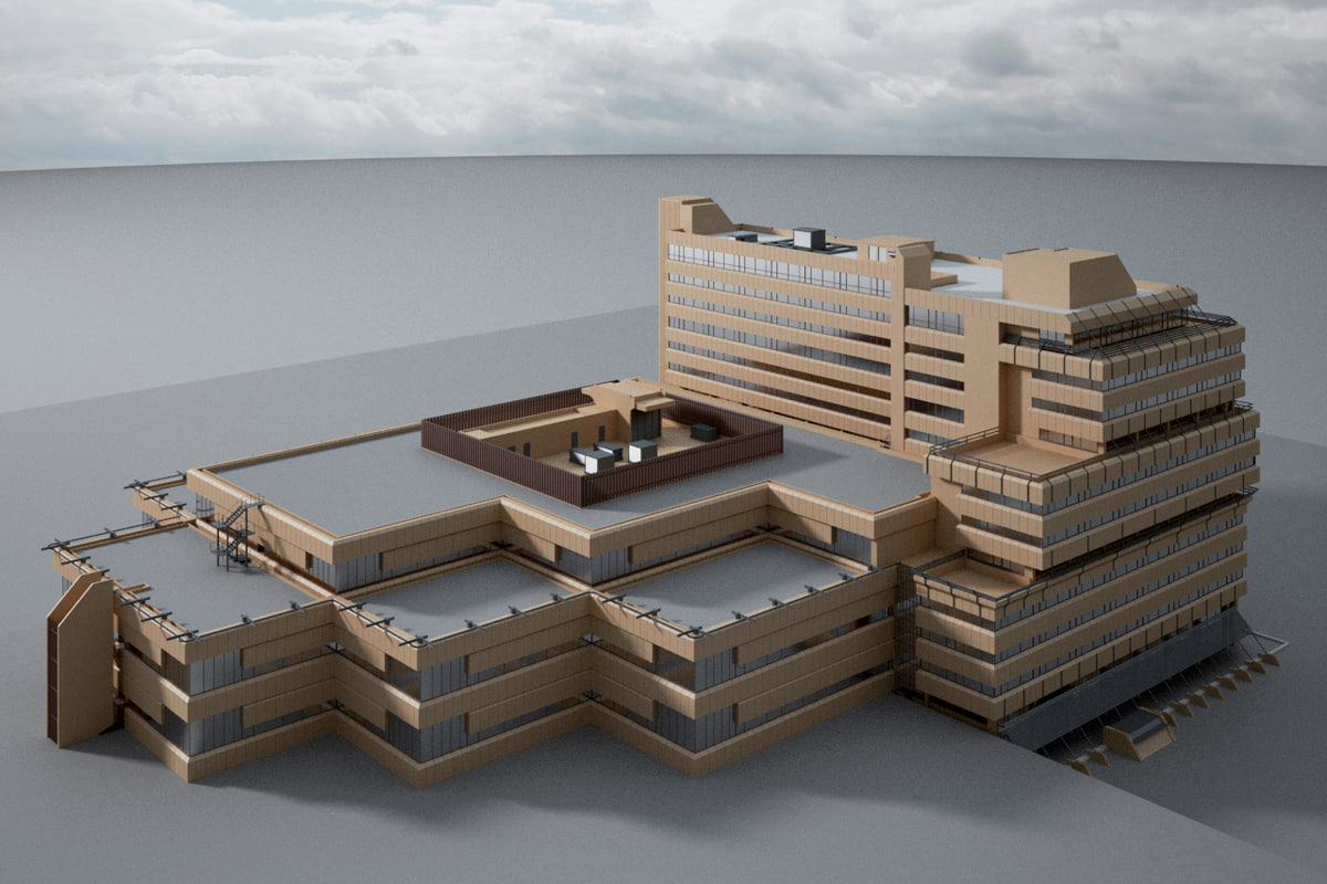 exterior scene office building 3d model