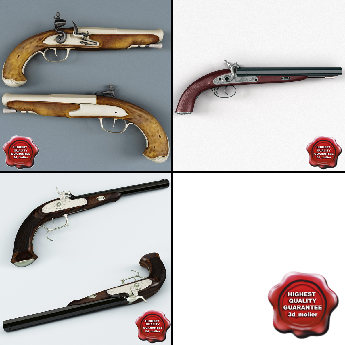 old musket pistols 3d 3ds