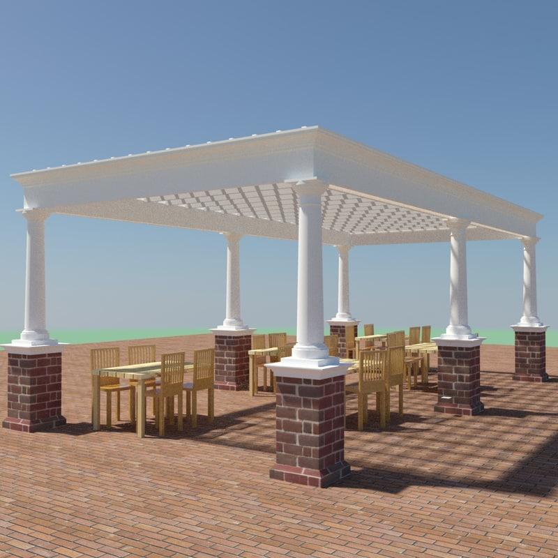 pergola colonial architecture 3d max
