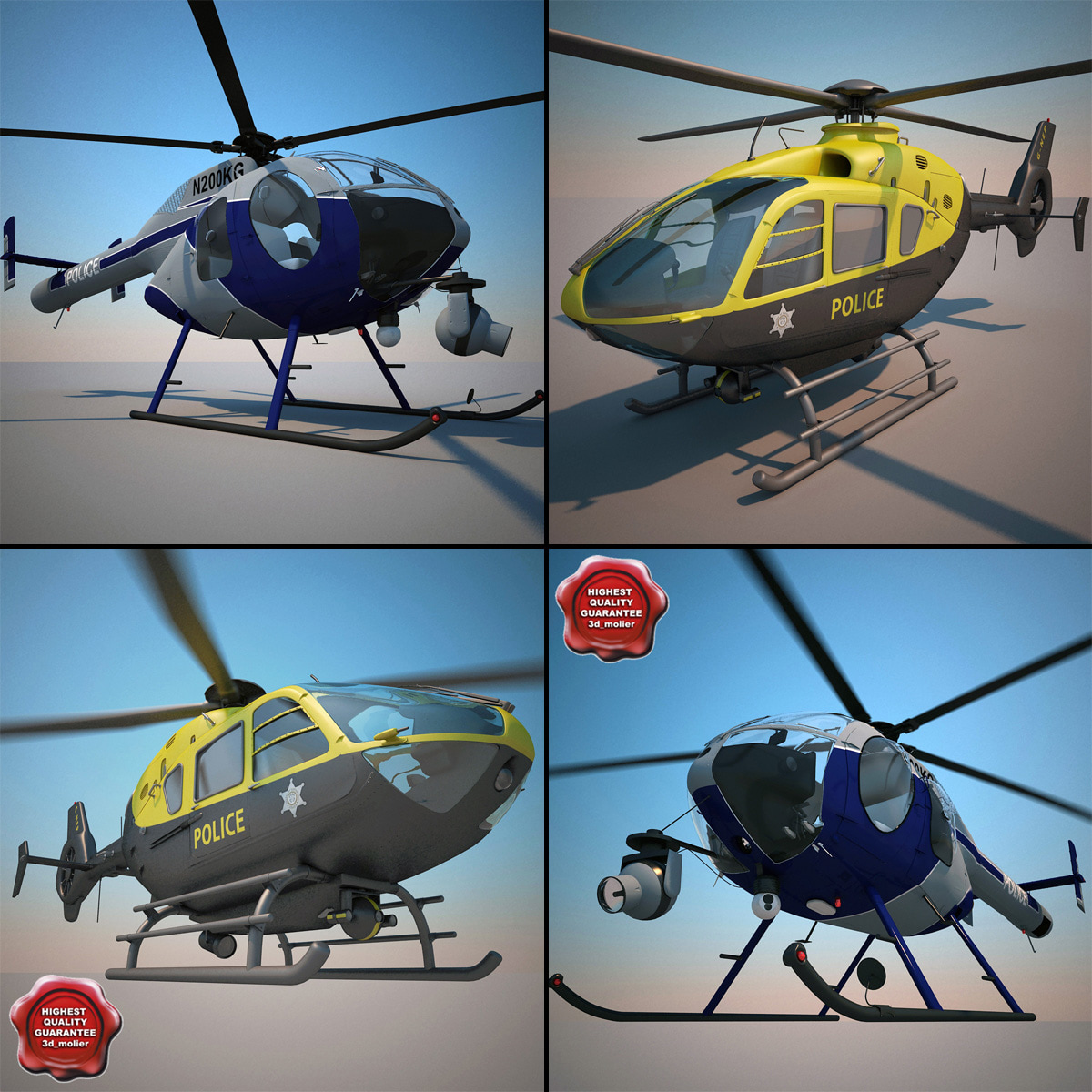 police helicopters 3d max