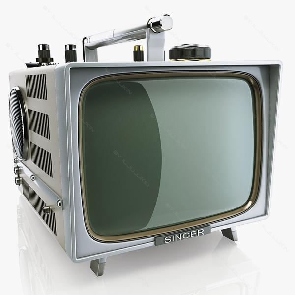 retro portable tv singer 3d model