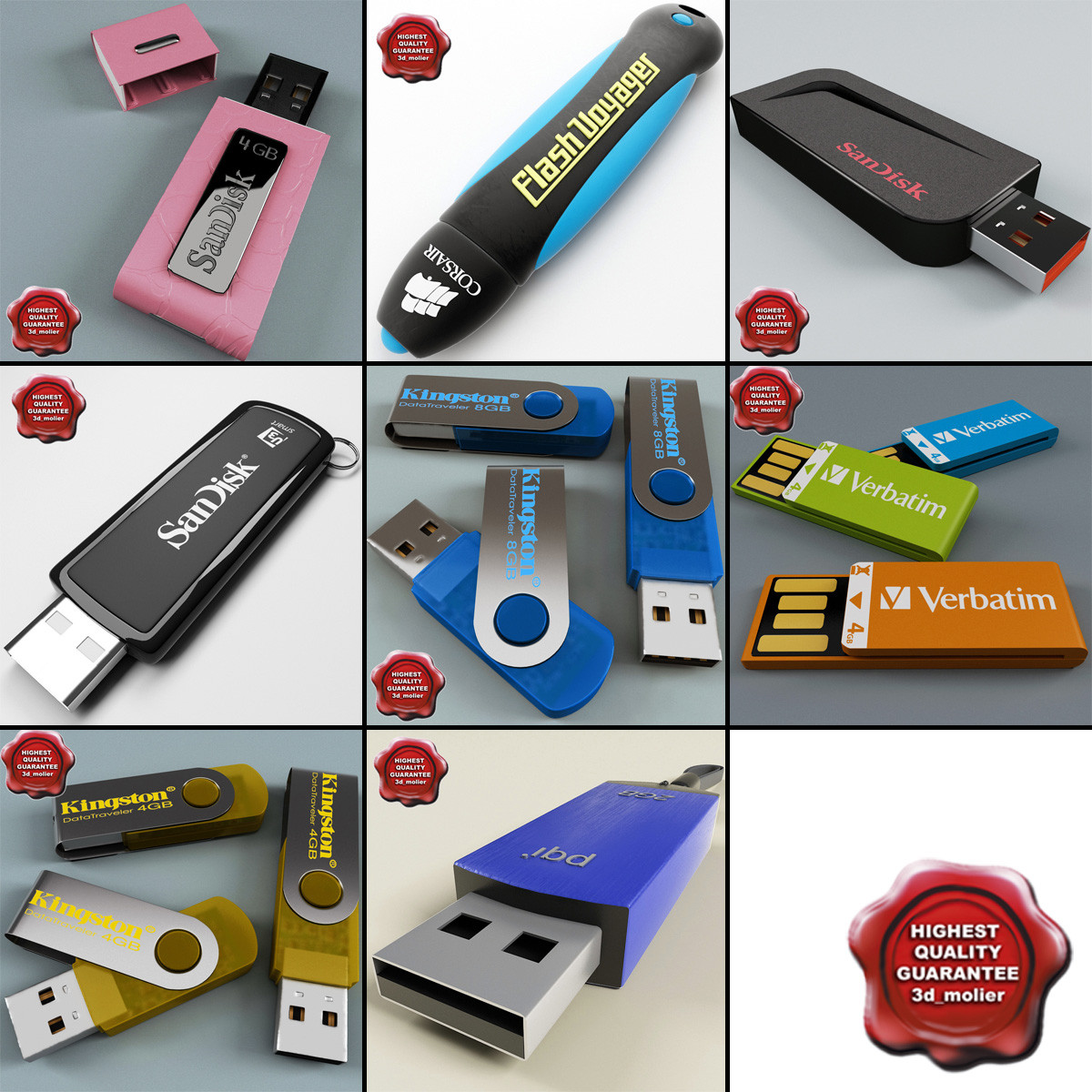 3d Model Usb Flash Drives V3 Flasdisk Kingston 4gb