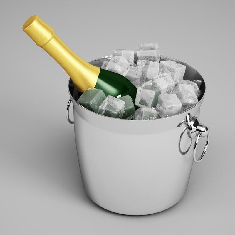 3d model champagne bottle ice bucket