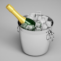 CGAxis Champagne Bottle in Ice Bucket 23