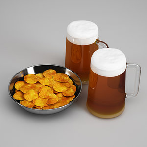 3d potato chips beer 24 model