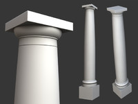 Vitruvius Tuscan Roman order column with pedestal high low poly