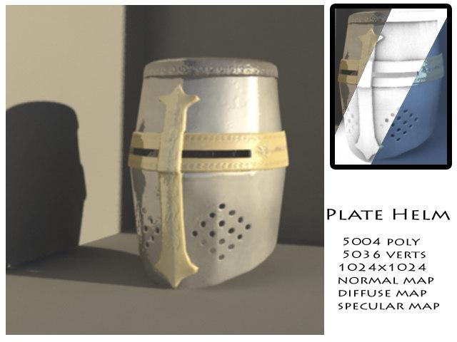 3d model medieval plate helm