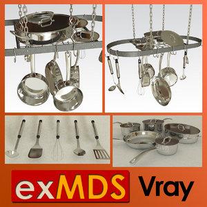 3d model hanging pans saucepan