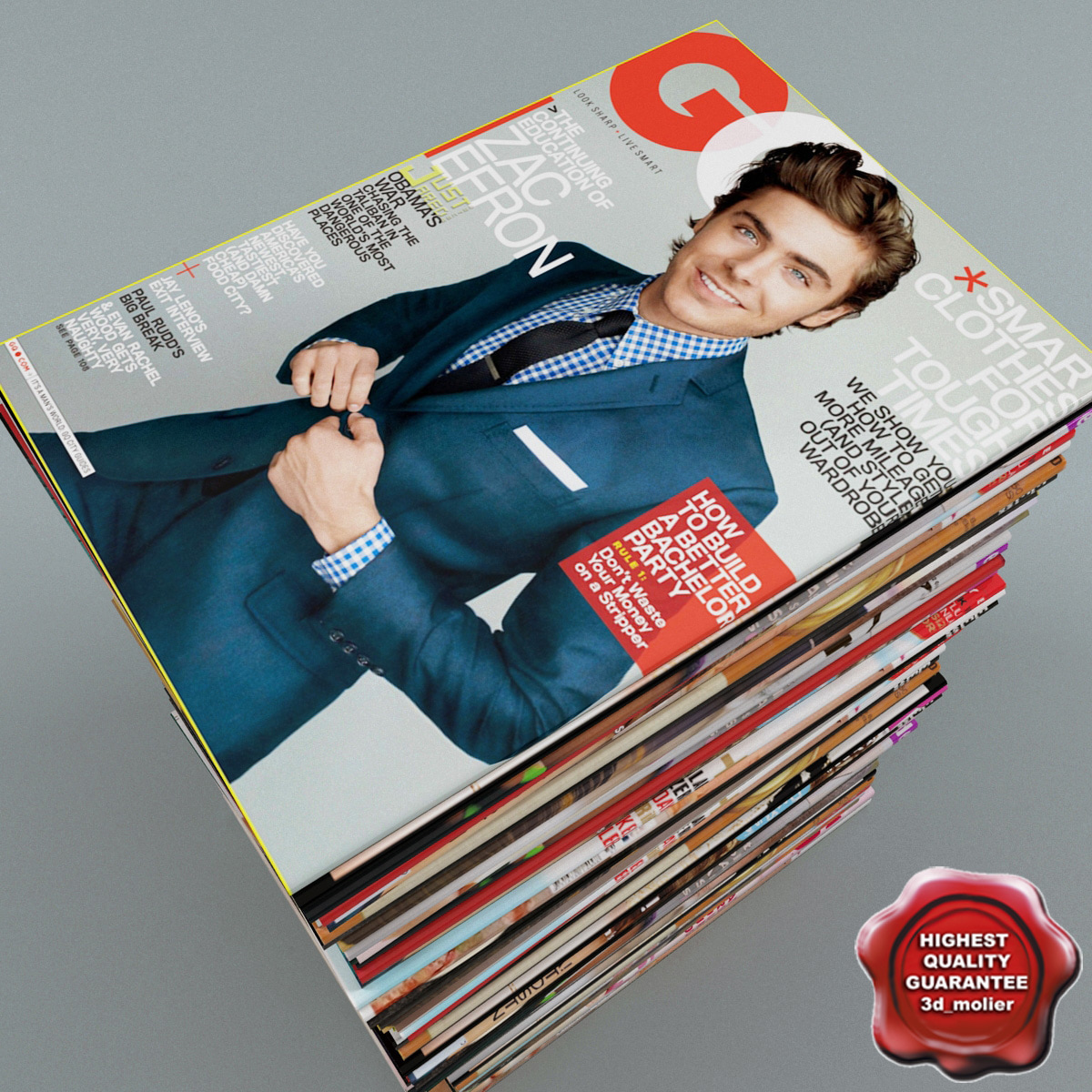 3d magazines set modelled