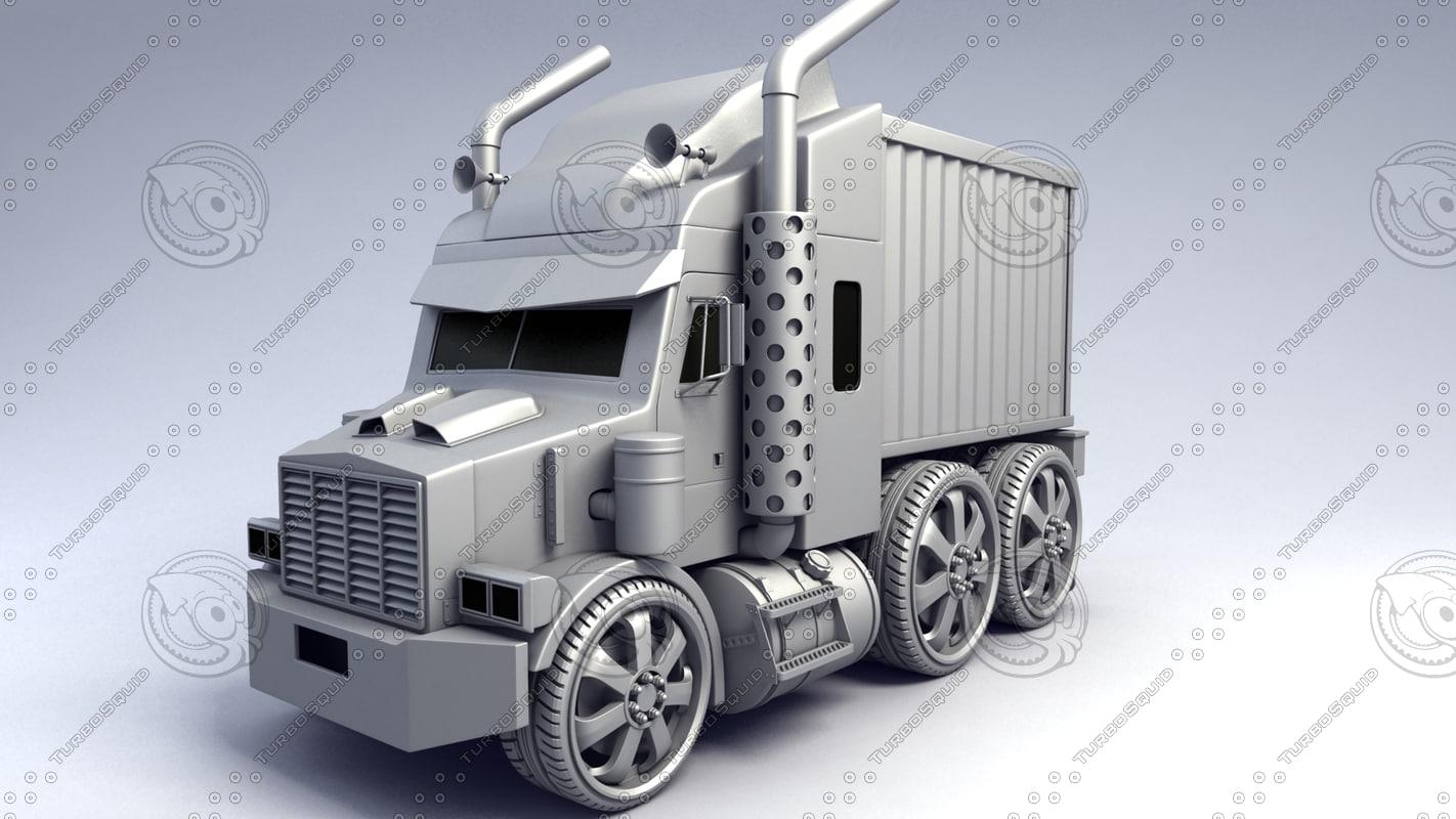 3d mini semi truck